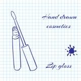 De hand getrokken schoonheidsmiddelen van de lijnkunst op notitieboekjedocument achtergrond Lipgloss met een pen wordt getrokken  Royalty-vrije Stock Afbeelding