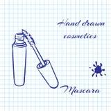 De hand getrokken schoonheidsmiddelen van de lijnkunst op notitieboekjedocument achtergrond Mascara met een pen wordt getrokken d Stock Foto's