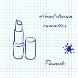 De hand getrokken schoonheidsmiddelen van de lijnkunst op notitieboekjedocument achtergrond Pommade met een pen wordt getrokken d Royalty-vrije Stock Foto's
