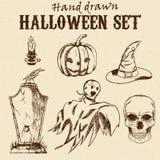 De hand Getrokken set van tekens van Halloween Royalty-vrije Stock Foto