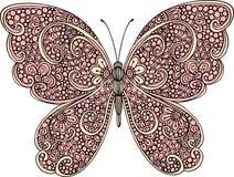 De hand getrokken sierillustratie van het vlinderoverzicht met decoratieve ornamenten Stock Fotografie