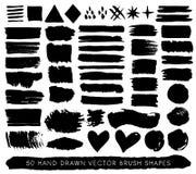 De hand getrokken slagen, de dalingen en de vormen van de verf grunge borstel Vector Royalty-vrije Stock Foto's