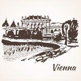 De hand getrokken straat en het park van Wenen royalty-vrije illustratie