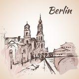 De hand getrokken straat van Berlijn dichtbij de rivier met banken vector illustratie