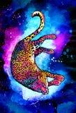De hand getrokken tekening van de jaguarwaterverf Stock Foto