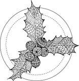 De hand getrokken tekening van de krabbel overladen hulst De illustratie van Kerstmisomela Royalty-vrije Stock Fotografie