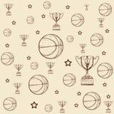 De hand getrokken trofee van het krabbelbasketbal, ster met balillustratie royalty-vrije illustratie