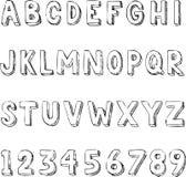 De hand getrokken in typografie van het brievenalfabet  Stock Fotografie