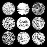 De hand getrokken van het gekrabbelcirkels van krijtlijnen verschillende geplaatste texturen Royalty-vrije Stock Afbeeldingen