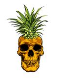 De hand Getrokken vector van de de ananasillustratie van het schedelfruit Stock Afbeeldingen