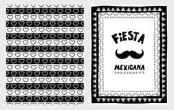 De hand Getrokken Vectorillustartions Reeks van Fiestamexicana Wit en Zwart Eenvoudig Kinderontwerp stock illustratie
