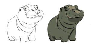 De hand getrokken vectorillustratie van de nijlpaardbaby Royalty-vrije Stock Foto