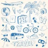 De hand getrokken vectorillustratie van reiskrabbels Royalty-vrije Stock Afbeeldingen