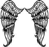 De hand getrokken vleugels van de tatoegeringsstijl vector illustratie