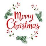 De hand getrokken Vrolijke van letters voorziende affiche van de Kerstmistypografie Illustratie voor groetkaarten, prentbriefkaar stock illustratie