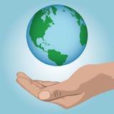 De hand heft wereld op Royalty-vrije Stock Fotografie