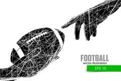 De hand houdt de rugbybal, silhouet Royalty-vrije Stock Afbeeldingen