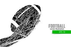 De hand houdt de rugbybal, silhouet Stock Afbeeldingen