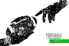De hand houdt de rugbybal, silhouet Royalty-vrije Stock Fotografie