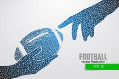 De hand houdt de rugbybal, silhouet van driehoek Stock Foto