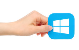De hand houdt Microsoft Windows-pictogram Stock Foto