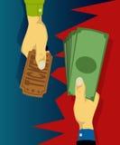 De hand koopt kaartjes met contant geld Stock Afbeelding