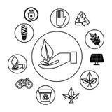 De hand met ecologie doorbladert en pictogrammen vector illustratie