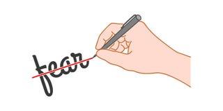 De hand met een pen streepte het woord door stock illustratie