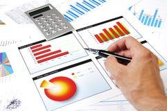 De hand met het handvat specificeert grafieken van de groei Stock Fotografie