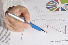 De hand met het handvat specificeert grafieken van de groei Stock Afbeelding