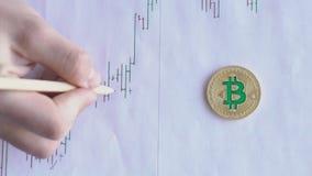 De hand met hulp van potlood maakt tekens op grafiek op blad met goud bitcoin stock video