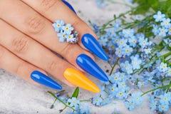 De hand met lange die kunstmatig manicured spijkers met blauw en oranje nagellak worden gekleurd stock foto