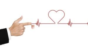 De hand opende vinger en schoot laser als harttarief, op witte achtergrond wordt geïsoleerd, abstract concept dat Stock Afbeelding