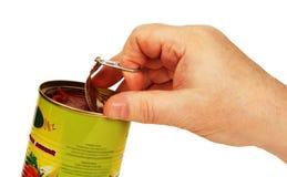 De hand opent a kan. Stock Afbeelding