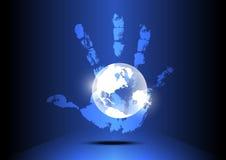 De hand overspoelt de wereld Stock Afbeeldingen