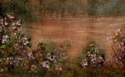 De hand schilderde BloemenAchtergrond Stock Afbeeldingen