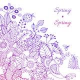 De hand schilderde bloemenkader Royalty-vrije Stock Afbeeldingen