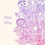 De hand schilderde bloemenkader Stock Afbeelding