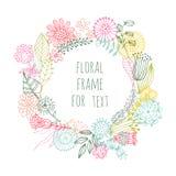 De hand schilderde bloemenkader Stock Foto's