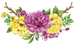 De hand schilderde bloemenyelllow en roze elegantiewaterverf vector illustratie