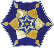 De hand schilderde mandala: blauw en goud Royalty-vrije Stock Afbeeldingen