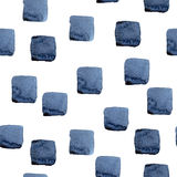 De hand schilderde naadloos waterverf vierkant patroon in indigoblauw Stock Afbeeldingen