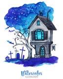 De hand schilderde oud huis bij de nacht van Halloween ` s Griezelig landschap vector illustratie