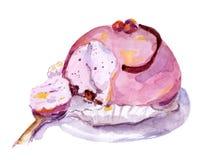 De hand schilderde roze gebakjecake Stock Foto's