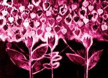 De hand schilderde watercolo van gestileerde bloemen Royalty-vrije Stock Afbeeldingen