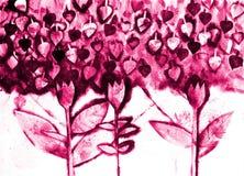 De hand schilderde watercolo van gestileerde bloemen Stock Afbeeldingen