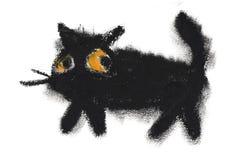 De hand schilderde de zwarte kat van het oliedeeg stock illustratie