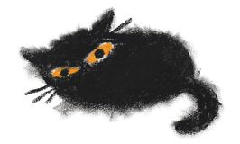 De hand schilderde de zwarte kat van het oliedeeg vector illustratie