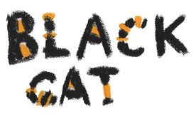 De hand schilderde zwarte de kattenkalligrafie van het oliedeeg royalty-vrije illustratie