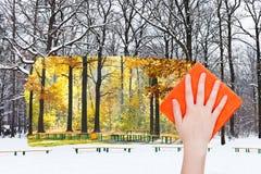 De hand schrapt de winter stedelijk park door oranje doek Stock Foto